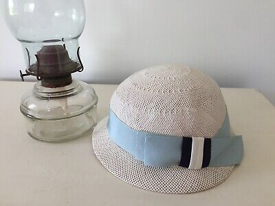 Cute 1960's vintage girls hat in cream woven straw with ribbon bow