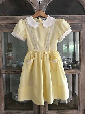 1950's vintage girl lemon party dress with embroidered pockets & sash tie