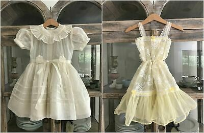 Adorable 1950's vintage ivory sheer girl party dress plus separate petticoat