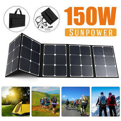 150W Sunpower Dual USB Foldable Solar Panel Charger Battery For Phone