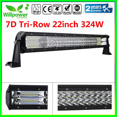 New 7D 22inch 324W TRI ROW LED Work Light Bar For Car Jeep SUV Offroad Driving