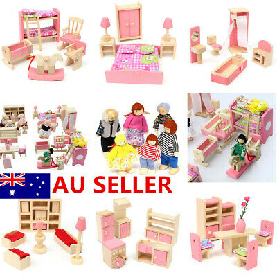 Wooden Doll House Miniature Family Children Furniture Set Kit Toys Xmas Gift AU