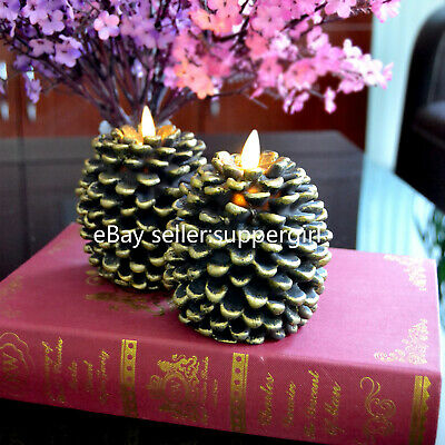 Set of 2 Luminara Pine Cone Real Wax Flickering Electric Led Candles with Timer
