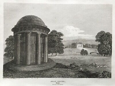 1812 Antique Print; The Mote House & Temple, Maidstone, Kent after Storer