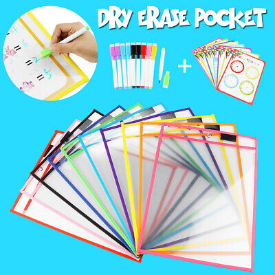 10/28Pcs/Set Reusable Dry Erase Pockets Sleeves Students Kids Write&Wipe + Pens