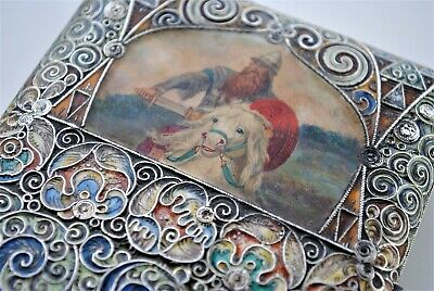 Rare Russian Enamel Hand Painted Signed C.c Cigarette Case 84 Silver Ruby Set