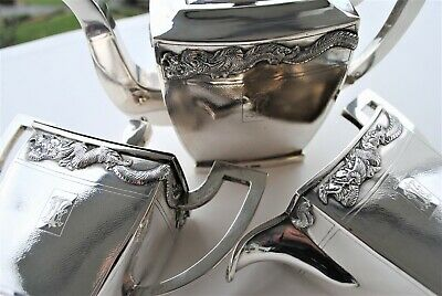 Chinese Export Silver Dragon Tea Set Beautiful Made 1.2Kg