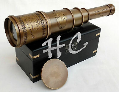 """Vintage Victorian Nautical Marine Solid Brass Ship Telescope 18"""" With Wooden Box"""