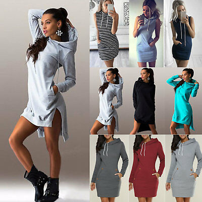Womens Bodycon Hoodies Jumper Shirt Dress Casual Pullover Tunic Tops Sweatshirt
