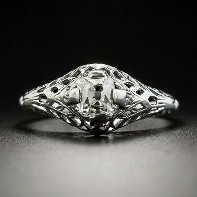 Early-20th-Century Vintage Antique Cushion-Cut 0.60CT Cubic Zirconia Women Ring
