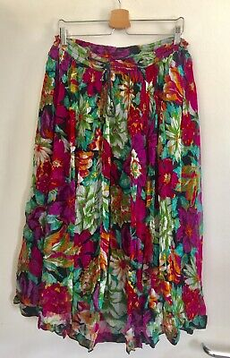 VINTAGE INDIAN 80s FLORAL MIDI SKIRT HIPPY / FESTIVAL UK14 EXC.COND