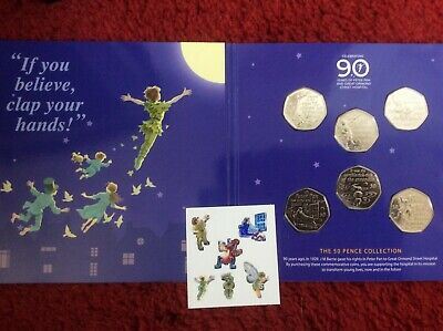 2019 Peter Pan 50P Fifty Pence 6 Coin Set 90Th Anniversary Bu Uncirculated