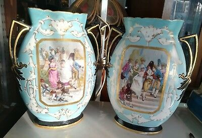 Pair Antique French Hand Painted Regency Scene Porcelain Vases With Handles