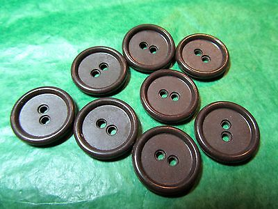 "(8)  3/4"" Textured Brown Plastic 2-Hole Colt-Like Buttons Vintage Lot (Nl730)"