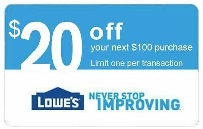 Lowes $20 OFF $100 EXP 8/31 FAST DELIVERY In-Store & Online 1COUPON
