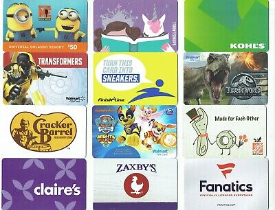Gift Cards - YOU CHOOSE 3 for $1.59 - PAW PATROL, Minions, Jurassic ~ No Value