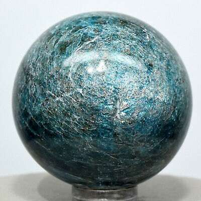 43mm Rich Blue Apatite Sphere Sparkling Natural Quartz Crystal Stone Madagascar