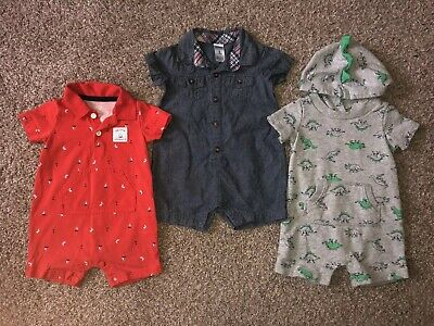 Baby Boy 6 Month Outfit Rompers Summer Lot Carters Gently Used Dinosaur Denim