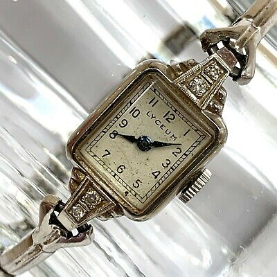 14KT White Gold Diamond Lyceum Vintage Kreisler Quality USA Bracelet Wristwatch