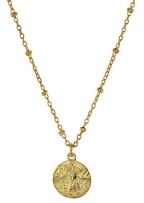 Trendor Jewellery Necklace Saint Christopher 925 Sterling Silver Gold Plated
