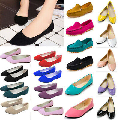 Womens Ballerina Ballet Pumps Slip On Flat Loafers Dolly Shoes Casual Size 3-7