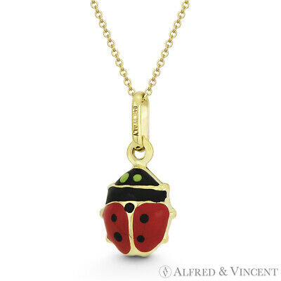 Hollow Ladybug Enamel Insect Lady-Luck Charm 16mmx8mm Pendant in 14k Yellow Gold