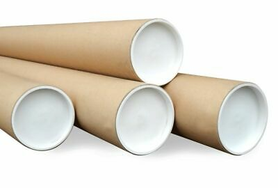 5 Pack of Cardboard Postal Tubes+Plastic End Caps Strong  76mmD x 1.5 x 610mm