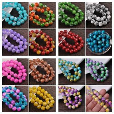 20pcs 10mm Double Color Glass Round Smooth Spacer Loose Charms Craft Beads