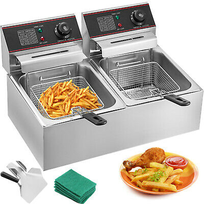 Large Commercial Fryer Electric Twin Basket 5000W Double Tank Fish Chips Fat Fry