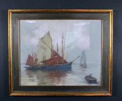 antique magnificent watercolor Pastel  Marine *fishing boat scenery *16x20 Frame