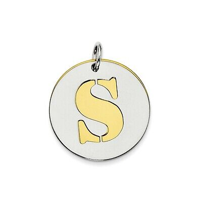 Sterling Silver GP Initial S Double Plate Round Charm (0.8in)