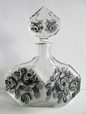 Antique BOHEMIAN ART DECO Hand Painted Schwarzlot CUT GLASS DECANTER Black ROSES