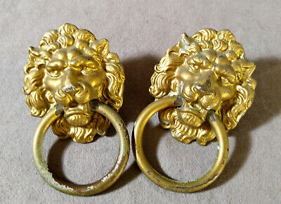 2 Vintage Brass Lion Heade Ring Pull Handle Knobs Gold Tone Furniture Accent