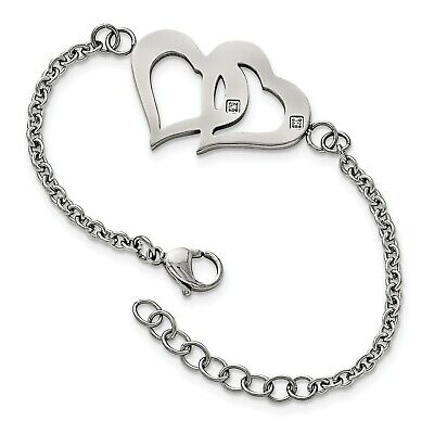 Stainless Steel 7.75in Polished Hearts with CZs w/1.25in. ext. Bracelet