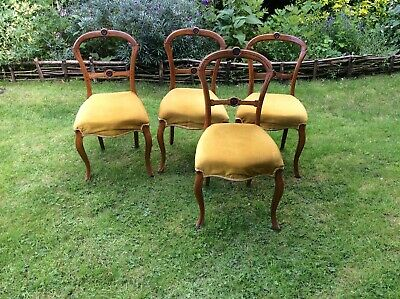 Set of 4x antique Georgian dining chairs with upholstered Seats. Yew Wood.