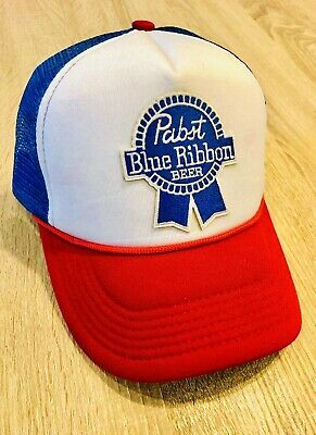 PBR Pabst Blue Ribbon Beer Embroidered Patch Hat Cap American Mesh Distressed Rd