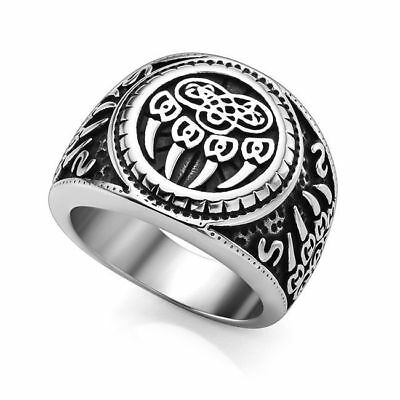 Stainless Retro Men Celtic Jewelry Claw Ring Finger Steel Paw Knot Punk Ring