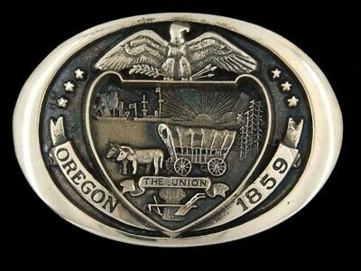 SE11136 VINTAGE 1970s **OREGON 1859** STATE COMMEMORATIVE SOLID BRASS BUCKLE