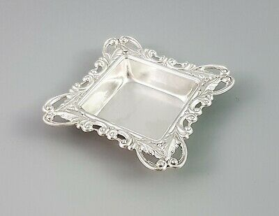 Edwardian style sterling silver small pin trinket dish embossed scroll leaf rim