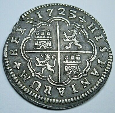 1723 Spanish Silver 2 Reales Piece of 8 Real Old Colonial Two Bits Treasure Coin