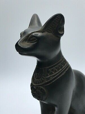 EGYPT EGYPTIAN CAT ANTIQUES BASTED Ubasti GODDESS Pharaoh STATUE Black Stone BC