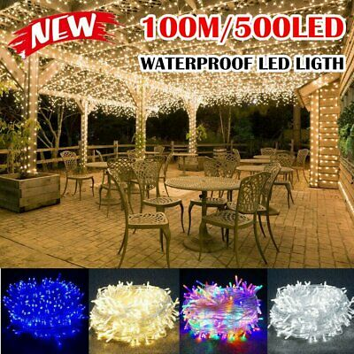 Multi-colour 100M 500LED Waterproof Christmas Fairy String Lights Wedding Garden