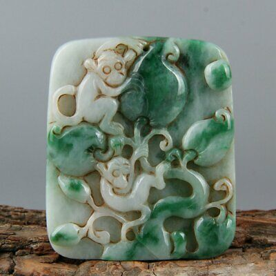 Chinese Exquisite Hand-carved monkey peach Carving jadeite jade Pendant