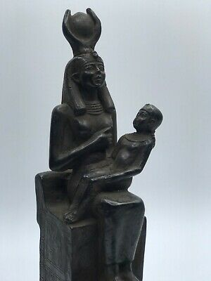 Rare EGYPTIAN ANTIQUES EGYPT STATUE of ISIS Nursing HORUS Carved STONE 1658 BC