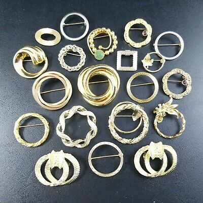 20 PC Vintage Gold Tone Mid Century Retro Wreath Circle Brooch Pin Lot UU16