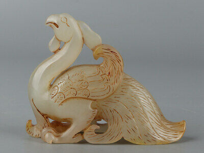 Chinese Exquisite Hand-carved phoenix Carving Hetian jade statue