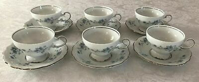 Set of 6 Johann Haviland Germany Blue Garland Platinum China Tea Cup Saucer