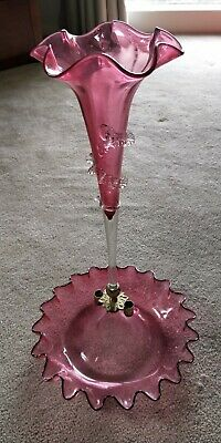 Antique Victorian Cranberry glass Epergne