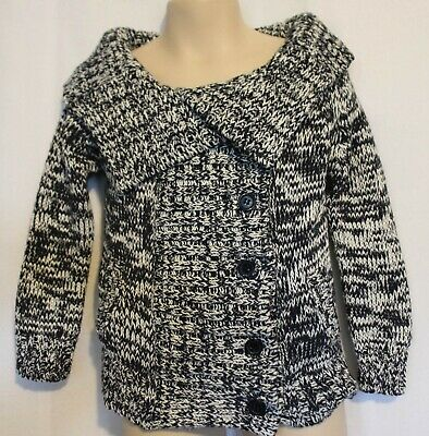 SEED ~ Kids Unisex Black White Cotton Chunky Knit Rolled Neckline Cardigan 3 4