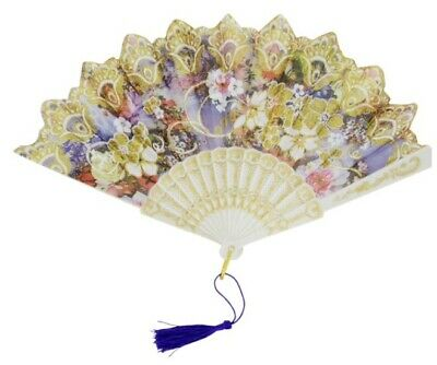 Lace Silk Folding Hand Fan Spanish Style Floral Flower Home Decor